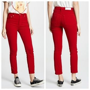 Re/Done Velour High Rise Ankle Crop Buttonfly